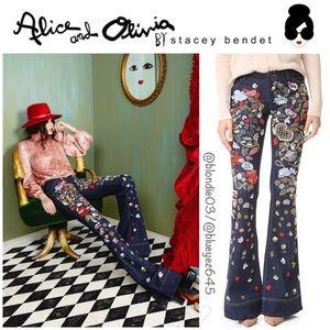 """Alice + Olivia """"Ryley"""" embellished bell jeans 26"""